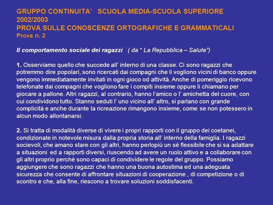 GRUPPO CONTINUITA SCUOLA MEDIA-SCUOLA SUPERIORE 2002/2003 PROVA SULLE CONOSCENZE ORTOGRAFICHE E GRAMMATICALI Prova n. 2 Il comportamento sociale dei r