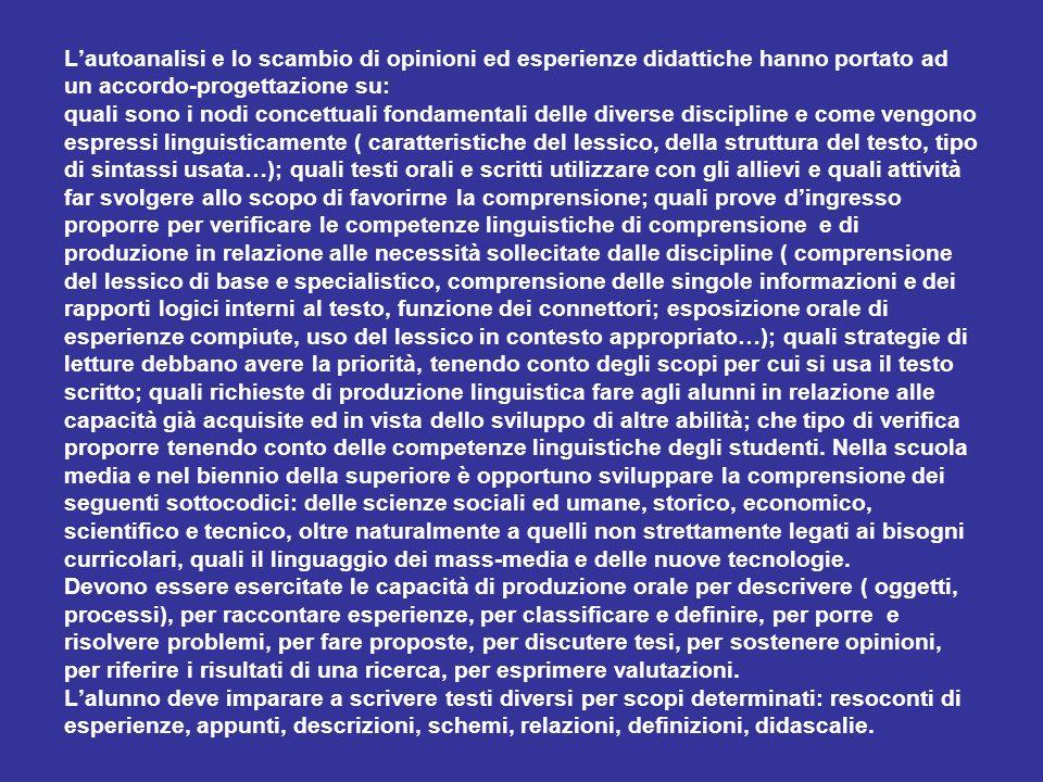 Lautoanalisi e lo scambio di opinioni ed esperienze didattiche hanno portato ad un accordo-progettazione su: quali sono i nodi concettuali fondamental