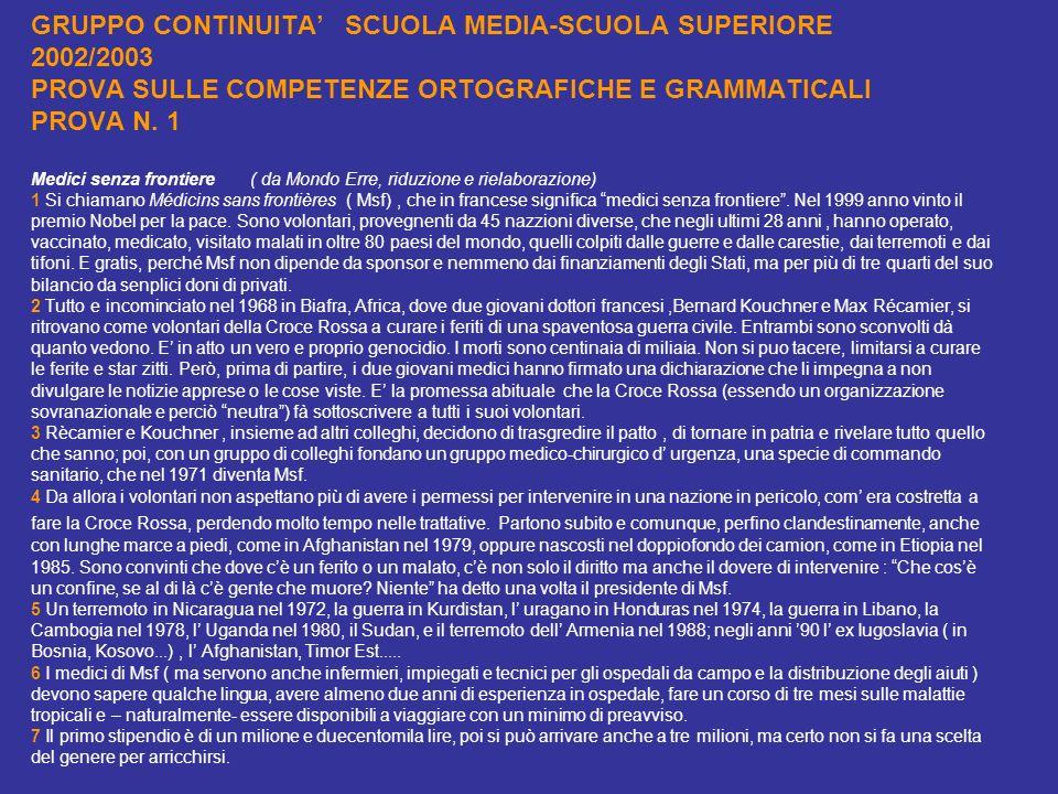 GRUPPO CONTINUITA SCUOLA MEDIA-SCUOLA SUPERIORE 2002/2003 PROVA SULLE COMPETENZE ORTOGRAFICHE E GRAMMATICALI PROVA N. 1 Medici senza frontiere ( da Mo