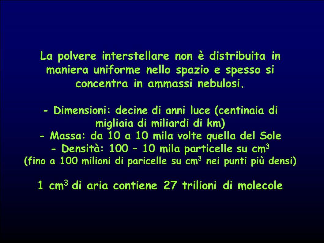 La polvere interstellare non è distribuita in maniera uniforme nello spazio e spesso si concentra in ammassi nebulosi. - Dimensioni: decine di anni lu