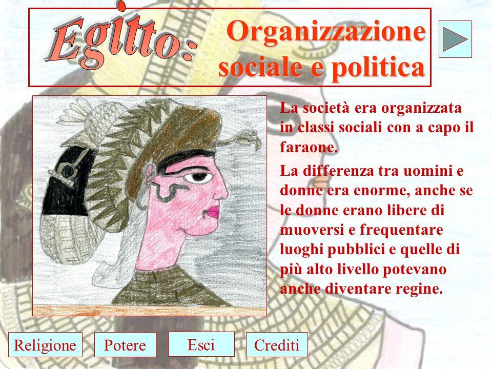 Organizzazione sociale e politica La società era organizzata in classi sociali con a capo il faraone.