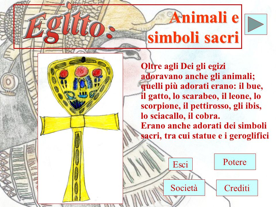 Animali e simboli sacri Oltre agli Dei gli egizi adoravano anche gli animali; quelli più adorati erano: il bue, il gatto, lo scarabeo, il leone, lo scorpione, il pettirosso, gli ibis, lo sciacallo, il cobra.