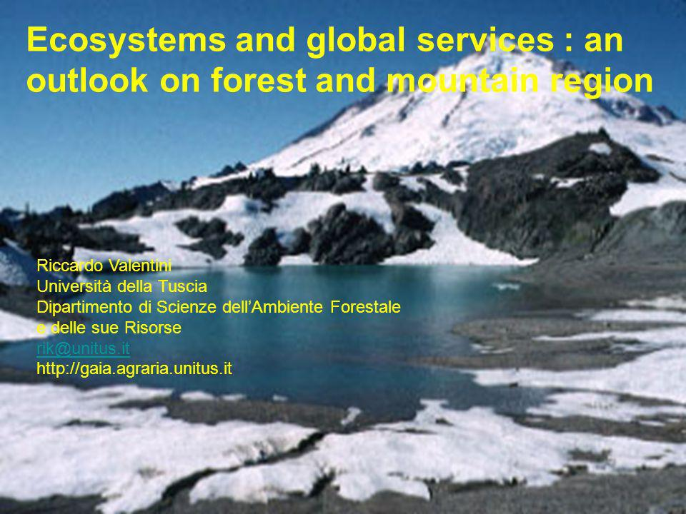 Riccardo Valentini Università della Tuscia Dipartimento di Scienze dellAmbiente Forestale e delle sue Risorse rik@unitus.it http://gaia.agraria.unitus.it Ecosystems and global services : an outlook on forest and mountain region