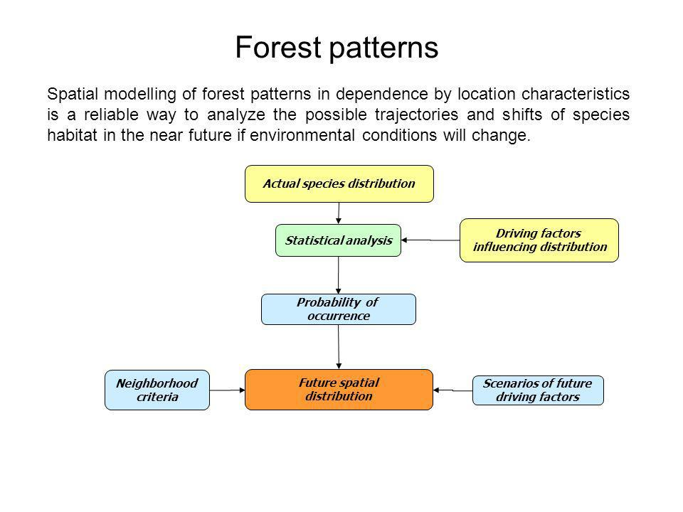 Driving factors influencing distribution Actual species distribution Statistical analysis Probability of occurrence Future spatial distribution Scenarios of future driving factors Neighborhood criteria Spatial modelling of forest patterns in dependence by location characteristics is a reliable way to analyze the possible trajectories and shifts of species habitat in the near future if environmental conditions will change.