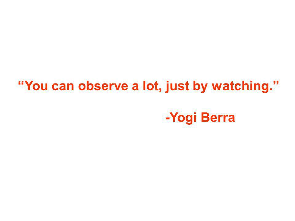 You can observe a lot, just by watching. -Yogi Berra