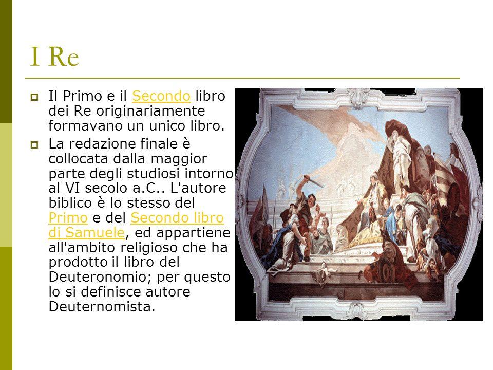 I Re Il Primo e il Secondo libro dei Re originariamente formavano un unico libro.Secondo La redazione finale è collocata dalla maggior parte degli studiosi intorno al VI secolo a.C..
