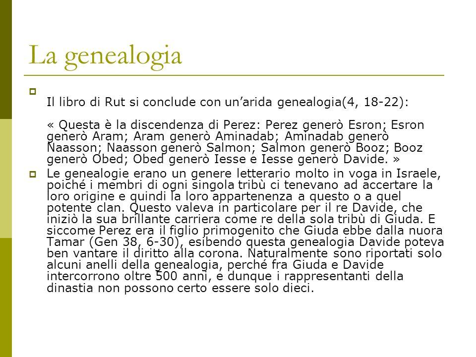 La genealogia Il libro di Rut si conclude con unarida genealogia(4, 18-22): « Questa è la discendenza di Perez: Perez generò Esron; Esron generò Aram;