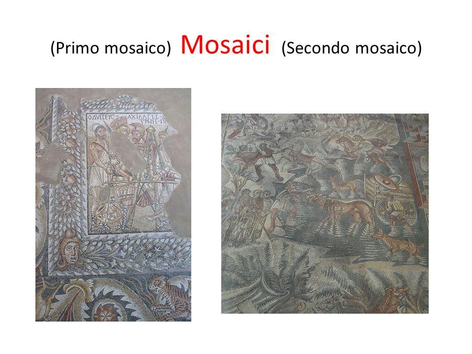 Primo mosaico Nel primo mosaico, si rappresenta la scena del riscatto del corpo di Ettore: Ulisse, Achille e Diomede, identificati da iscrizioni in greco, sono impegnati nella pesatura del cadavere delleroe.