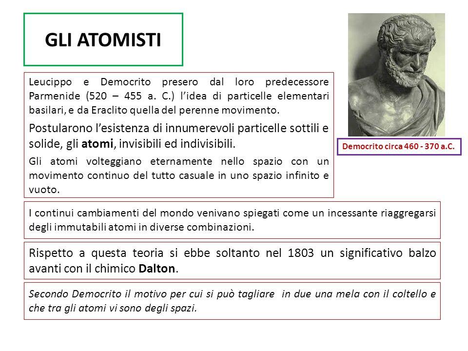 GLI ATOMISTI Leucippo e Democrito presero dal loro predecessore Parmenide (520 – 455 a. C.) lidea di particelle elementari basilari, e da Eraclito que