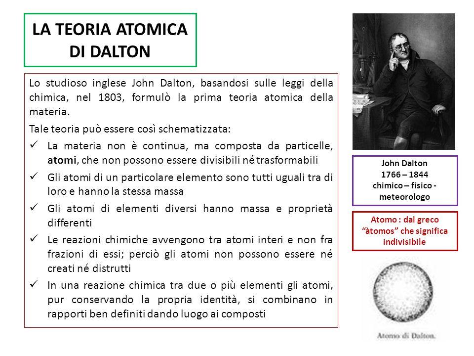 LA TEORIA ATOMICA DI DALTON Lo studioso inglese John Dalton, basandosi sulle leggi della chimica, nel 1803, formulò la prima teoria atomica della mate