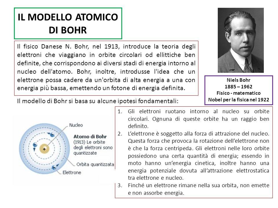 IL MODELLO ATOMICO DI BOHR Il fisico Danese N. Bohr, nel 1913, introduce la teoria degli elettroni che viaggiano in orbite circolari od ellittiche ben