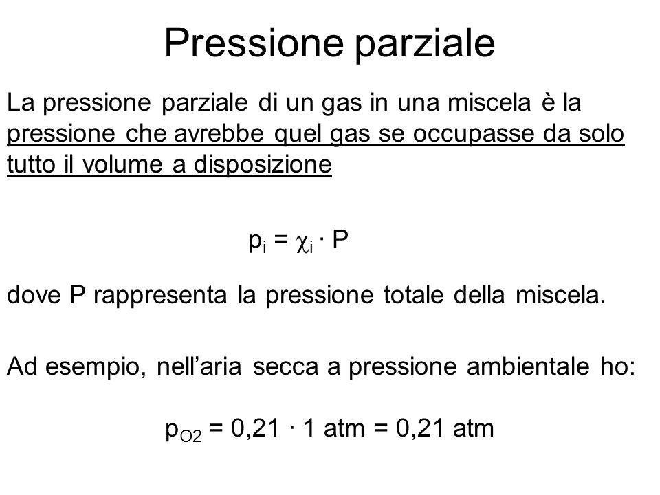 Pressione parziale La pressione parziale di un gas in una miscela è la pressione che avrebbe quel gas se occupasse da solo tutto il volume a disposizione p i = i · P dove P rappresenta la pressione totale della miscela.