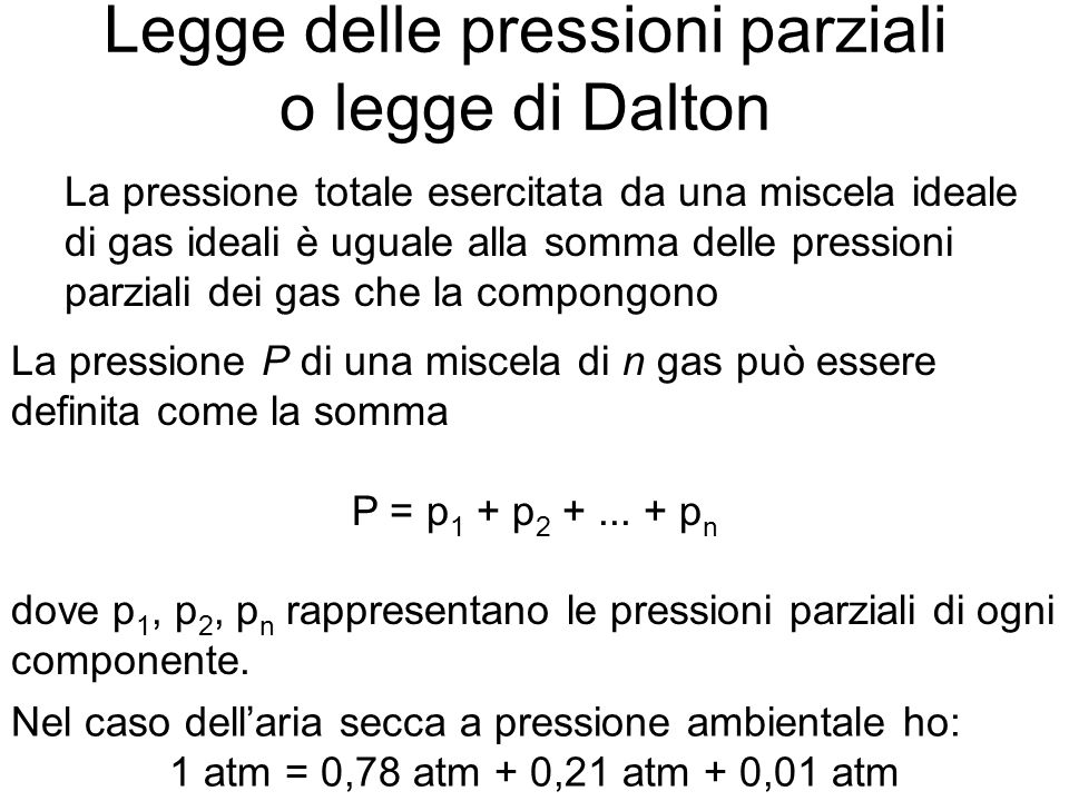 Legge delle pressioni parziali o legge di Dalton La pressione totale esercitata da una miscela ideale di gas ideali è uguale alla somma delle pressioni parziali dei gas che la compongono La pressione P di una miscela di n gas può essere definita come la somma P = p 1 + p 2 +...
