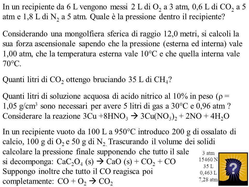 In un recipiente da 6 L vengono messi 2 L di O 2 a 3 atm, 0,6 L di CO 2 a 5 atm e 1,8 L di N 2 a 5 atm. Quale è la pressione dentro il recipiente? Con