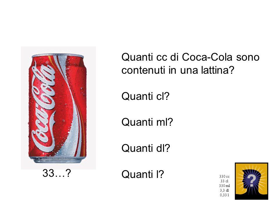 Quanti cc di Coca-Cola sono contenuti in una lattina? Quanti cl? Quanti ml? Quanti dl? Quanti l? 33…? 330 cc 33 cl 330 ml 3,3 dl 0,33 l