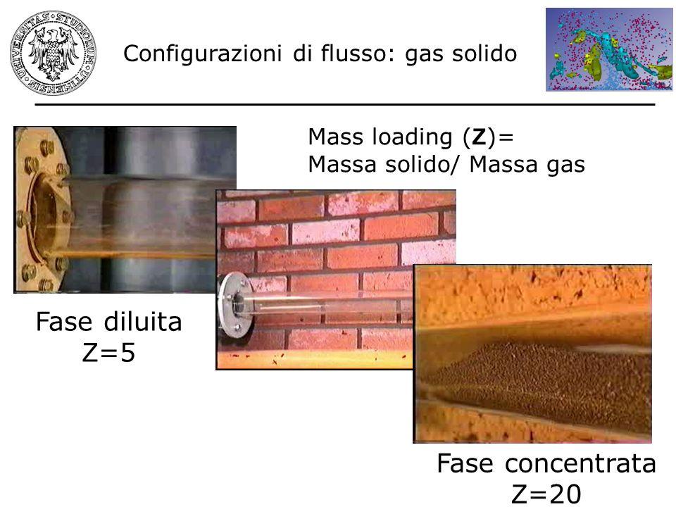 Configurazioni di flusso: gas solido Fase diluita Z =5 Fase concentrata Z =20 Mass loading ( Z )= Massa solido/ Massa gas