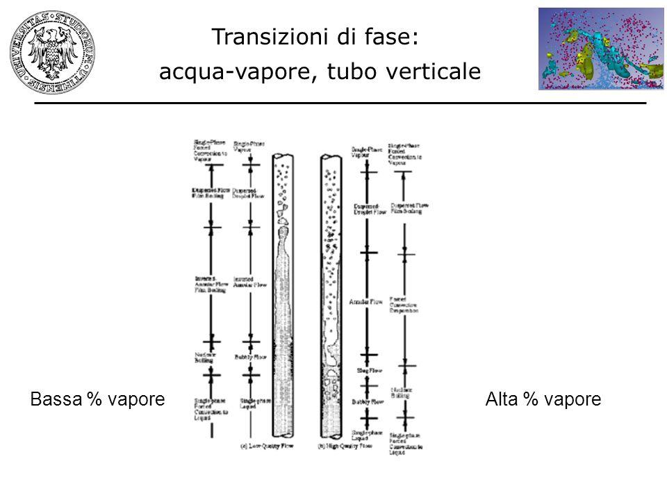 Transizioni di fase: acqua-vapore, tubo verticale Bassa % vaporeAlta % vapore