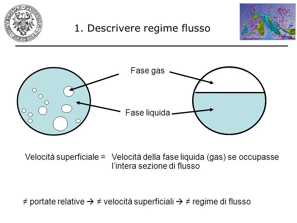 1. Descrivere regime flusso Velocità superficiale =Velocità della fase liquida (gas) se occupasse lintera sezione di flusso portate relative velocità