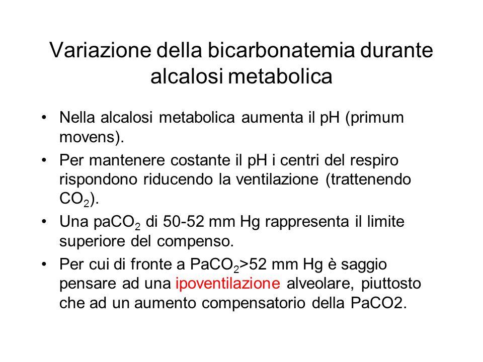 Variazione della bicarbonatemia durante alcalosi metabolica Nella alcalosi metabolica aumenta il pH (primum movens). Per mantenere costante il pH i ce