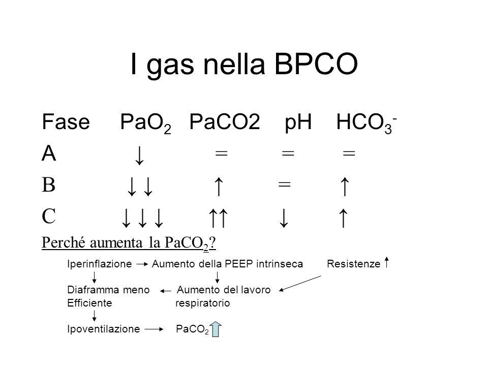 I gas nella BPCO Fase PaO 2 PaCO2 pH HCO 3 - A = = = B = C Perché aumenta la PaCO 2 ? Iperinflazione Aumento della PEEP intrinseca Resistenze Diaframm