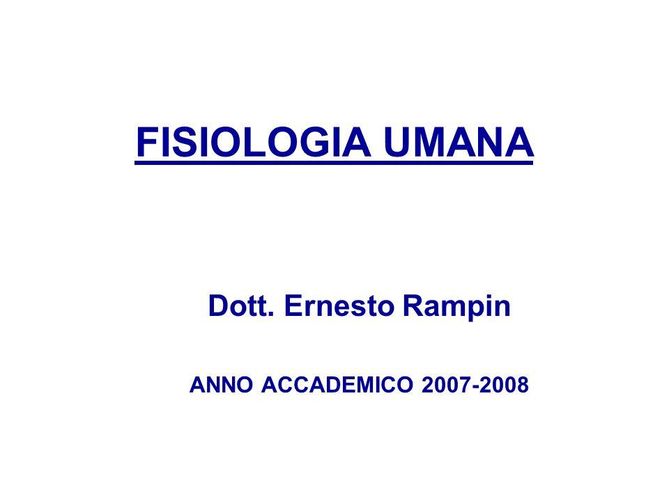 FISIOLOGIA UMANA Dott. Ernesto Rampin ANNO ACCADEMICO 2007-2008