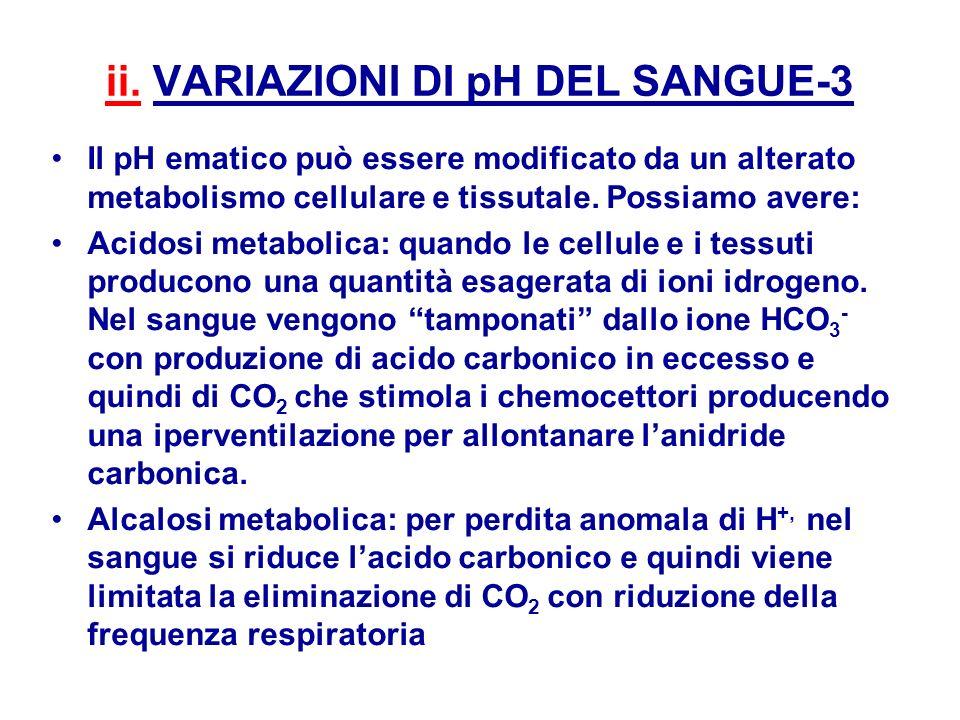 ii. VARIAZIONI DI pH DEL SANGUE-3 Il pH ematico può essere modificato da un alterato metabolismo cellulare e tissutale. Possiamo avere: Acidosi metabo