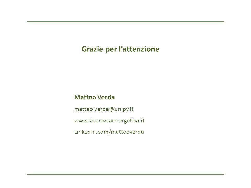 Matteo Verda matteo.verda@unipv.it www.sicurezzaenergetica.it Linkedin.com/matteoverda Grazie per lattenzione