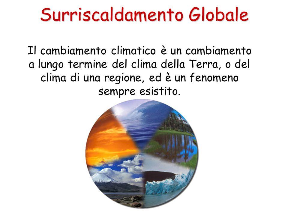 Surriscaldamento Globale Il cambiamento climatico è un cambiamento a lungo termine del clima della Terra, o del clima di una regione, ed è un fenomeno