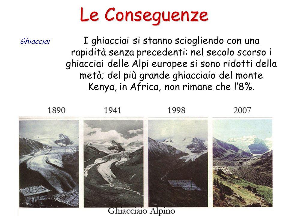 Le Conseguenze I ghiacciai si stanno sciogliendo con una rapidità senza precedenti: nel secolo scorso i ghiacciai delle Alpi europee si sono ridotti d