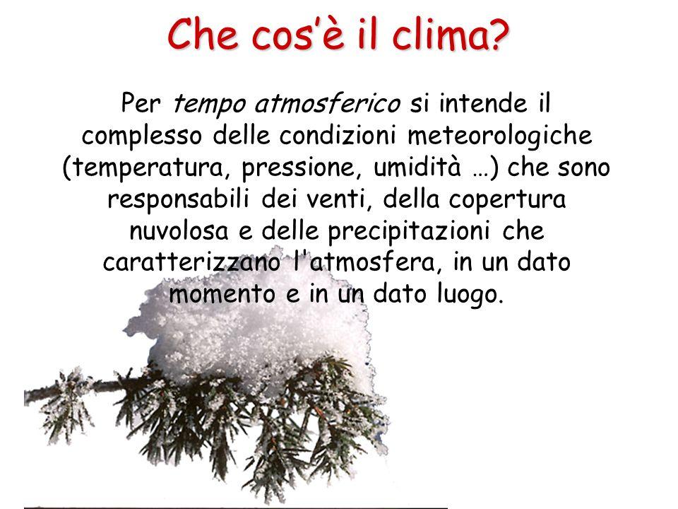 Per tempo atmosferico si intende il complesso delle condizioni meteorologiche (temperatura, pressione, umidità …) che sono responsabili dei venti, del