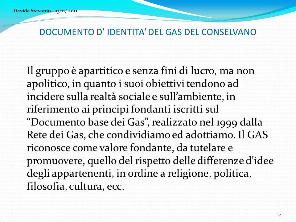 Il gruppo è apartitico e senza fini di lucro, ma non apolitico, in quanto i suoi obiettivi tendono ad incidere sulla realtà sociale e sullambiente, in riferimento ai principi fondanti iscritti sul Documento base dei Gas, realizzato nel 1999 dalla Rete dei Gas, che condividiamo ed adottiamo.