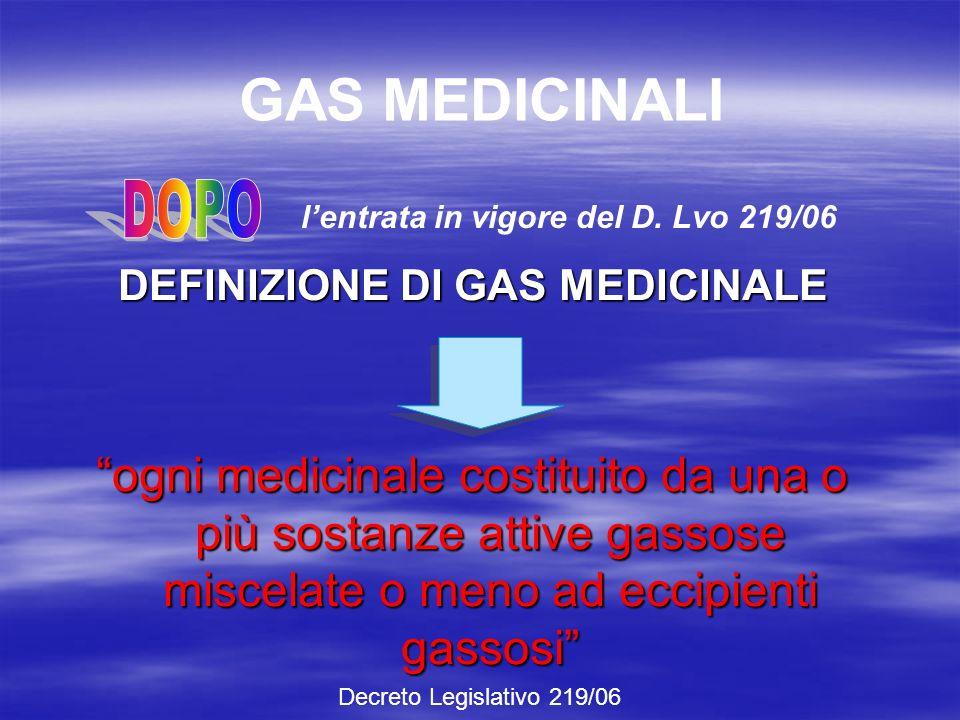 GAS MEDICINALI DLvo 29 maggio 1992, n.178 DLvo 30 dicembre 1992, n.