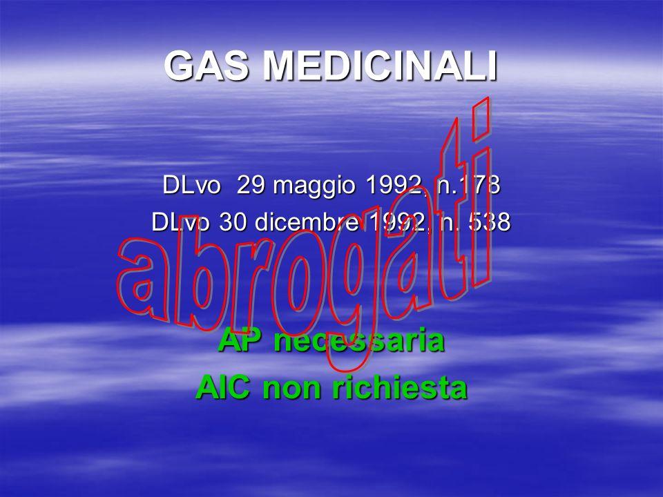 GAS MEDICINALI DLvo 29 maggio 1992, n.178 DLvo 30 dicembre 1992, n. 538 AP necessaria AIC non richiesta
