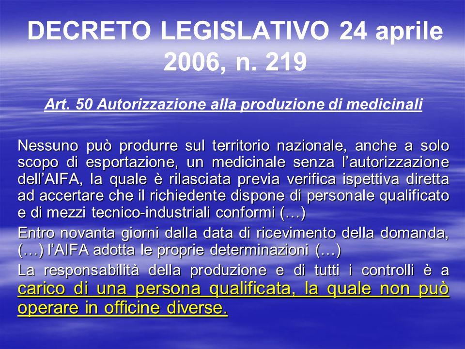DECRETO LEGISLATIVO 24 aprile 2006, n. 219 Art. 50 Autorizzazione alla produzione di medicinali Nessuno può produrre sul territorio nazionale, anche a