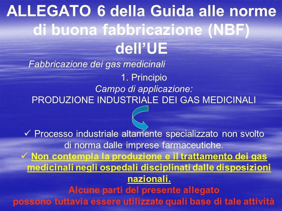 ALLEGATO 6 della Guida alle norme di buona fabbricazione (NBF) dellUE Fabbricazione dei gas medicinali 5.Produzione Tutte le fasi critiche dei diversi processi di fabbricazione devono essere oggetto di convalida.