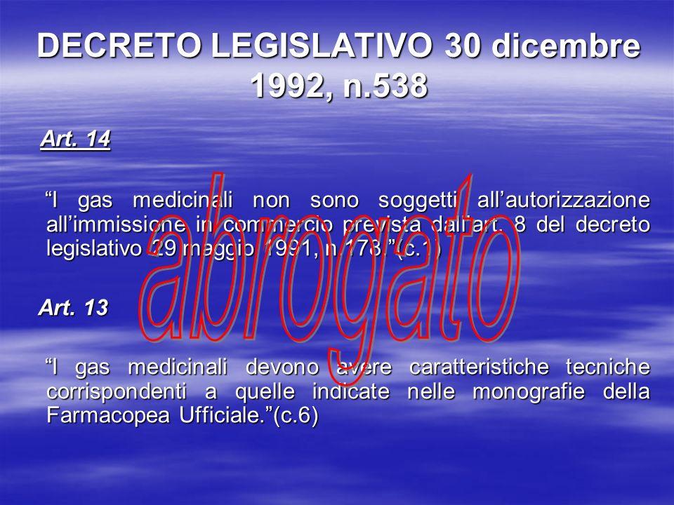 DECRETO LEGISLATIVO 30 dicembre 1992, n.538 Art.14 Art.