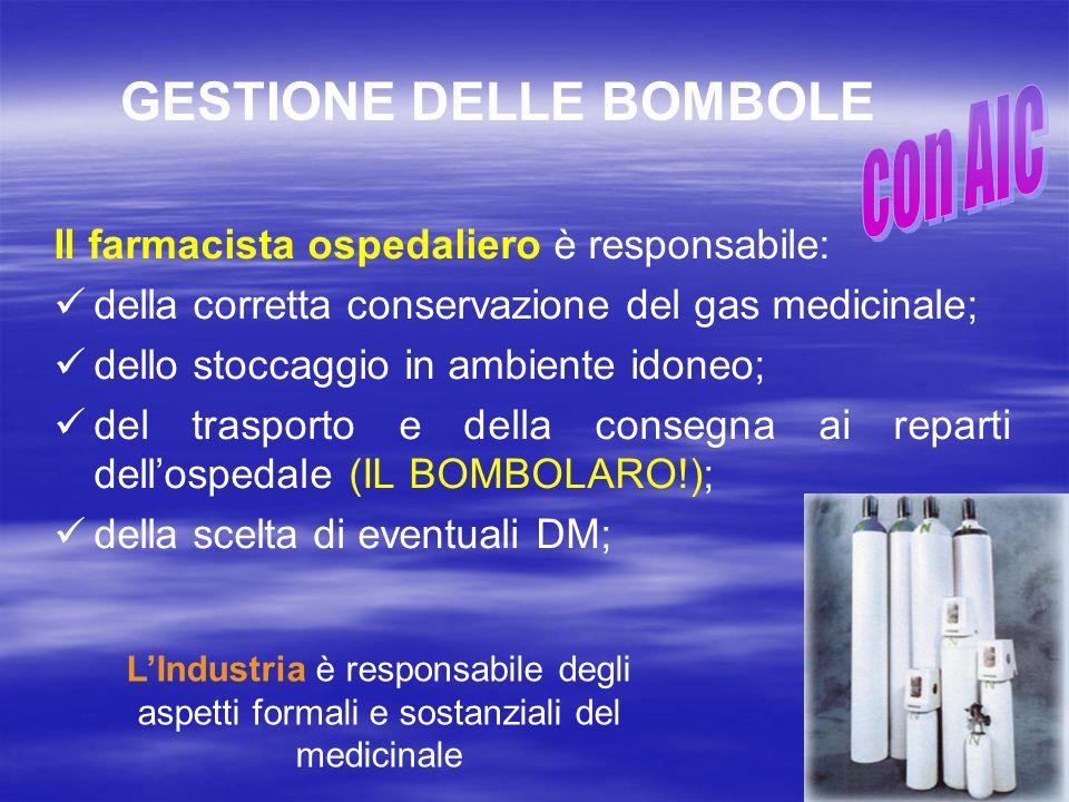 GESTIONE DELLE BOMBOLE Il farmacista ospedaliero è responsabile: della corretta conservazione del gas medicinale; dello stoccaggio in ambiente idoneo;