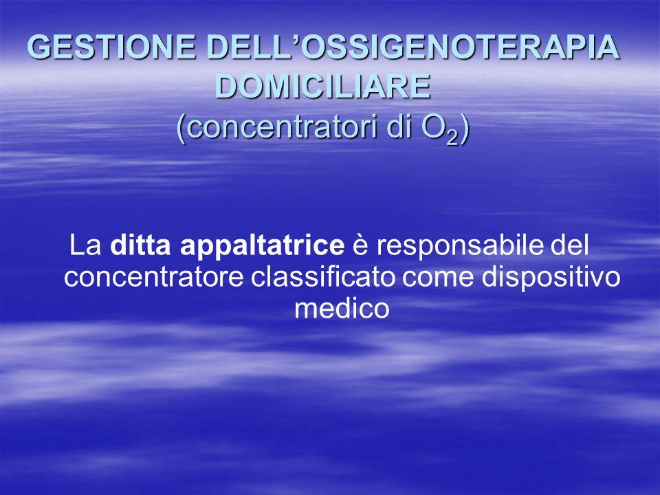 GESTIONE DELLOSSIGENOTERAPIA DOMICILIARE (bombole di O 2 gassoso) (recipienti criogenici di O 2 liquido) Il farmacista dellASL è responsabile degli aspetti formali delle bombole e dei recipienti criogenici
