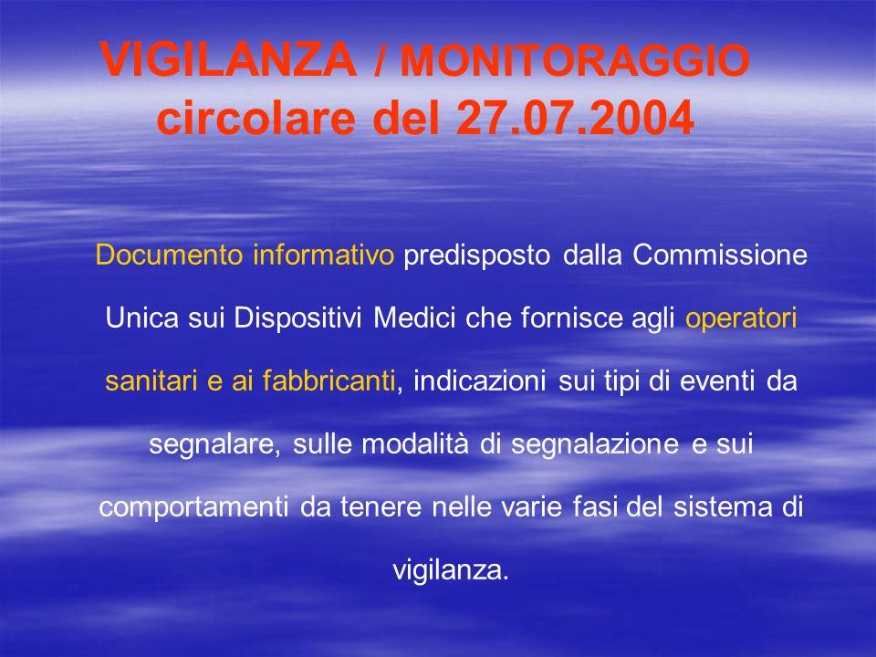 VIGILANZA / MONITORAGGIO Decreto 15 novembre 2005 Approvazione dei modelli di schede di segnalazione di incidenti o mancati incidenti, che coinvolgono dispositivi medici e dispositivi medico – diagnostici in vitro.