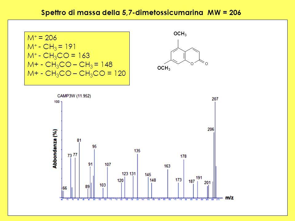 Spettro di massa della 5,7-dimetossicumarina MW = 206 M + = 206 M + - CH 3 = 191 M + - CH 3 CO = 163 M+ - CH 3 CO – CH 3 = 148 M+ - CH 3 CO – CH 3 CO = 120 OCH 3