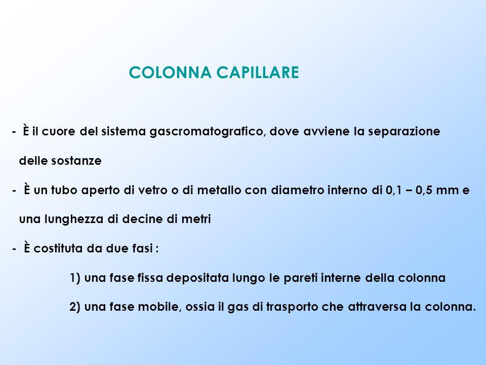 COLONNA CAPILLARE - È il cuore del sistema gascromatografico, dove avviene la separazione delle sostanze - È un tubo aperto di vetro o di metallo con diametro interno di 0,1 – 0,5 mm e una lunghezza di decine di metri - È costituta da due fasi : 1) una fase fissa depositata lungo le pareti interne della colonna 2) una fase mobile, ossia il gas di trasporto che attraversa la colonna.