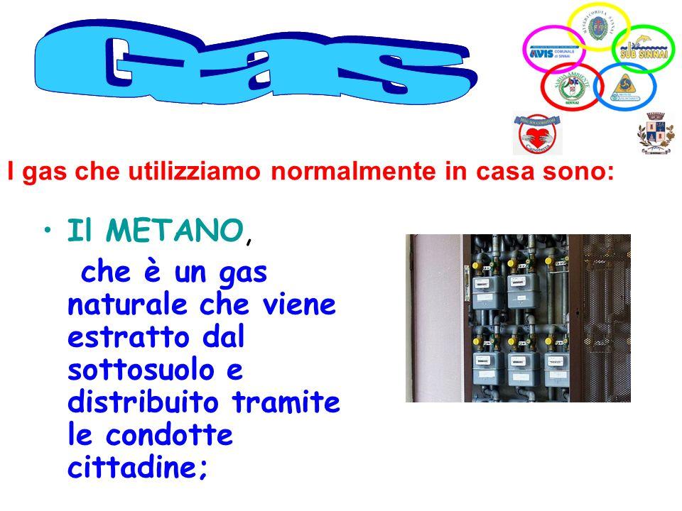 Il METANO, che è un gas naturale che viene estratto dal sottosuolo e distribuito tramite le condotte cittadine; I gas che utilizziamo normalmente in c