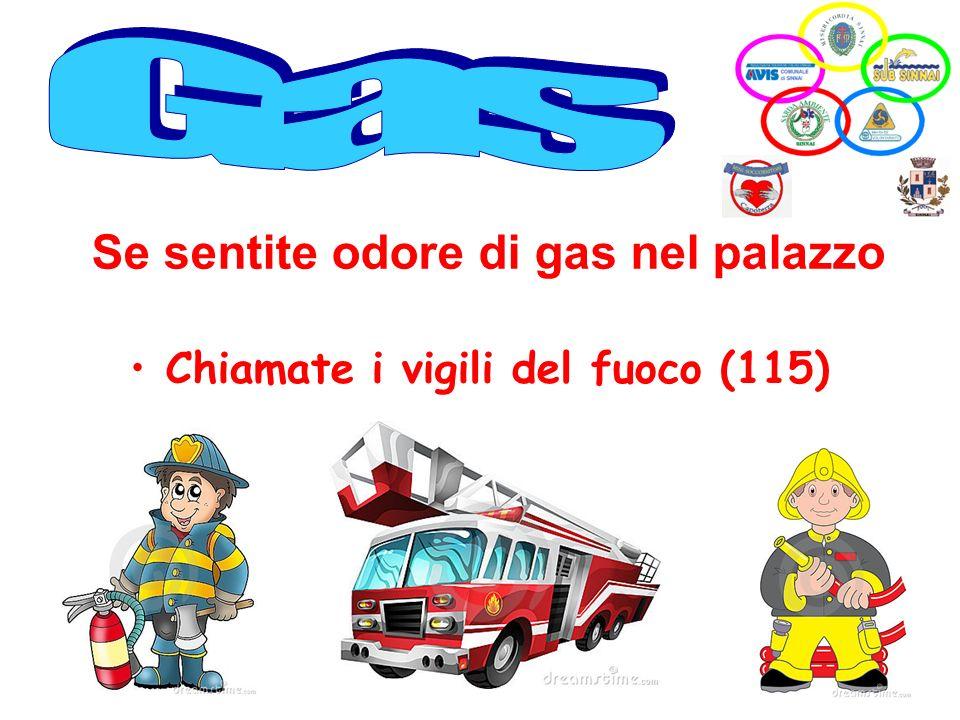 Chiamate i vigili del fuoco (115) Se sentite odore di gas nel palazzo