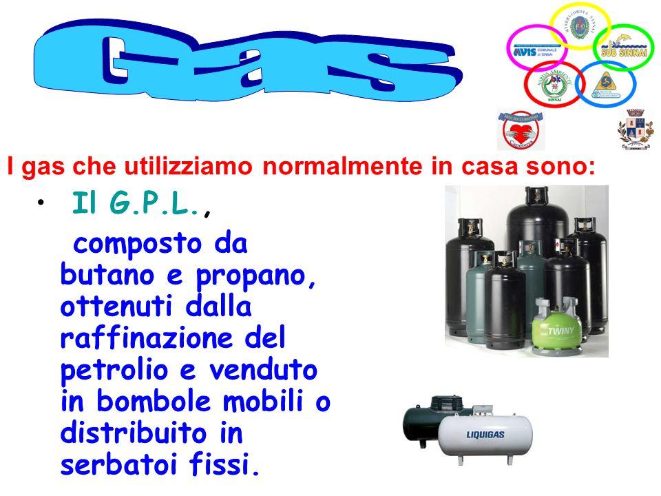 Il G.P.L., composto da butano e propano, ottenuti dalla raffinazione del petrolio e venduto in bombole mobili o distribuito in serbatoi fissi. I gas c