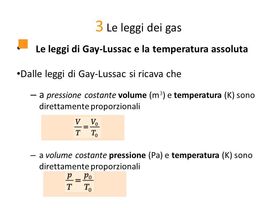 Le leggi di Gay-Lussac e la temperatura assoluta Dalle leggi di Gay-Lussac si ricava che – a pressione costante volume (m 3 ) e temperatura (K) sono d