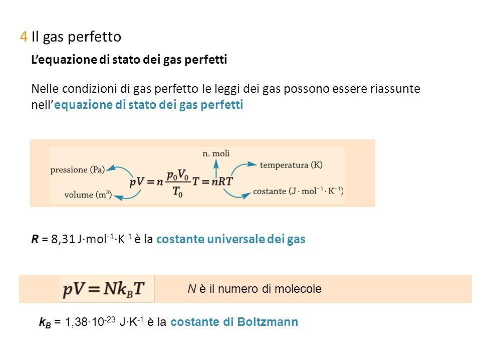 N è il numero di molecole 4 Il gas perfetto Lequazione di stato dei gas perfetti Nelle condizioni di gas perfetto le leggi dei gas possono essere rias