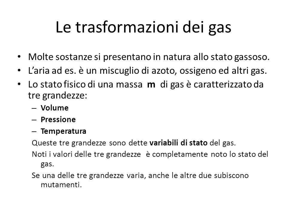 Le trasformazioni dei gas Molte sostanze si presentano in natura allo stato gassoso. Laria ad es. è un miscuglio di azoto, ossigeno ed altri gas. Lo s