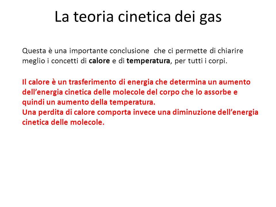 La teoria cinetica dei gas Questa è una importante conclusione che ci permette di chiarire meglio i concetti di calore e di temperatura, per tutti i c
