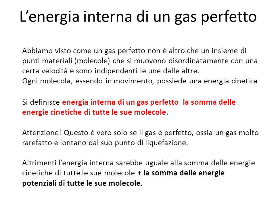 Lenergia interna di un gas perfetto Abbiamo visto come un gas perfetto non è altro che un insieme di punti materiali (molecole) che si muovono disordi
