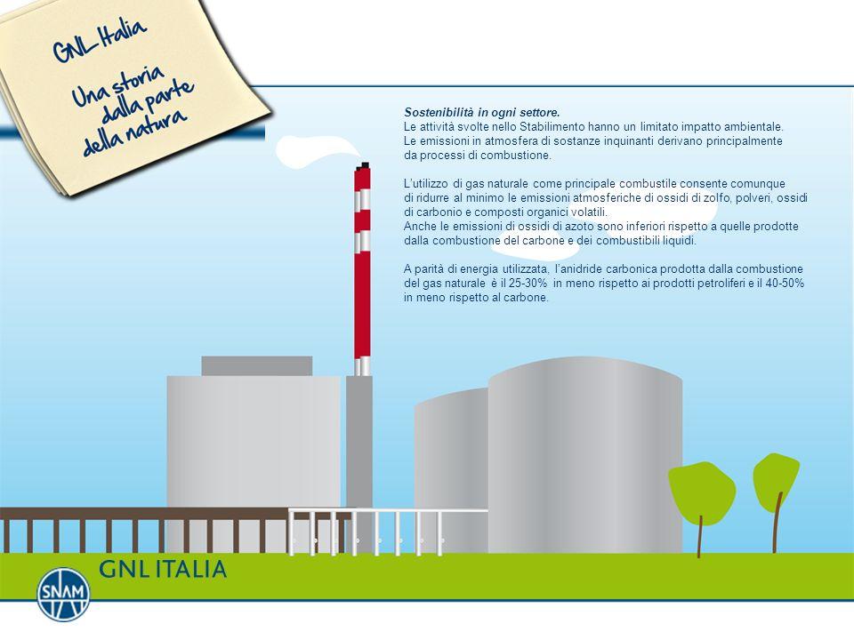 Sostenibilità in ogni settore. Le attività svolte nello Stabilimento hanno un limitato impatto ambientale. Le emissioni in atmosfera di sostanze inqui